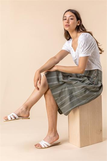 Khaki Stripe Print Button A-Line Skirt