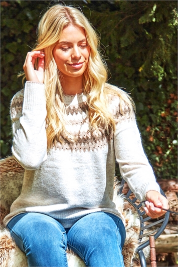 Natural Hotfix Detail Fairisle Knit Long Sleeve Jumper