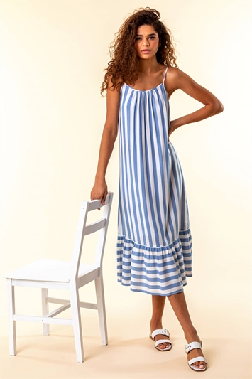 Blue Stripe Print Strappy Beach Dress