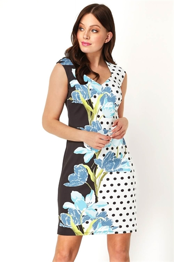 Sweetheart Spot Floral Scuba Dress