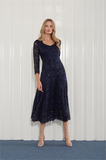 Navy Julianna Sequin Lace Midi Dress