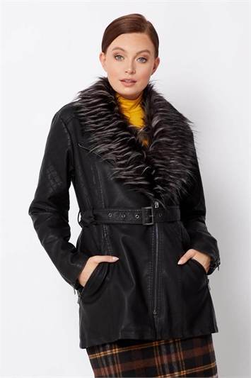 Longline Faux Leather Coat