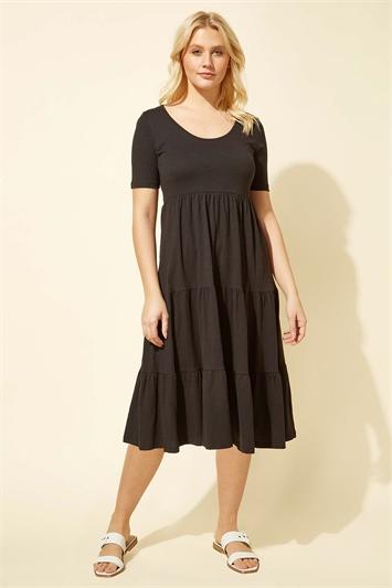 Tiered Jersey Midi Dress