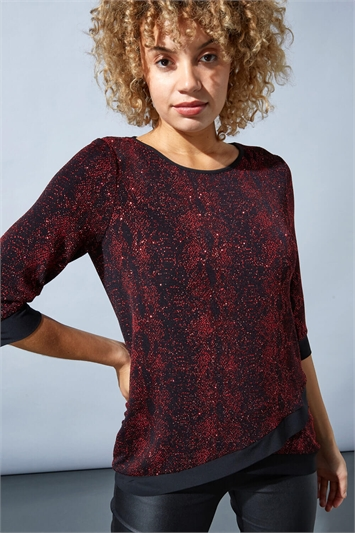 Asymmetric Animal Print Shimmer Top