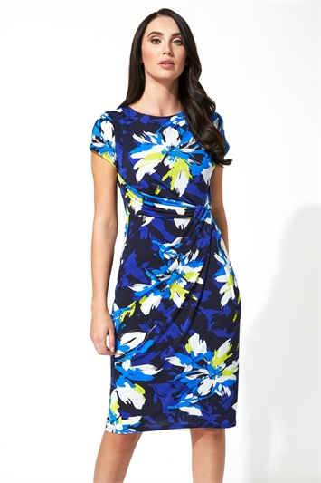 Floral Print Side Twist Dress