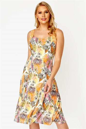 Tropical Burnout Fit and Flare Dress