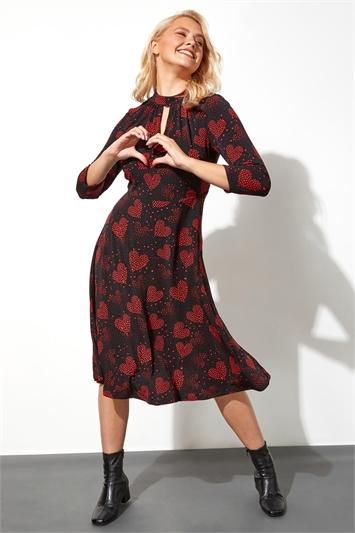 Heart Print Keyhole Neck Midi Dress