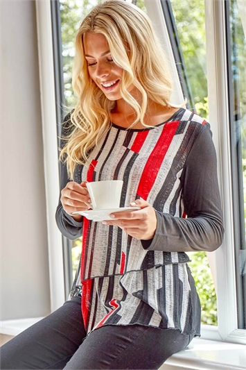 Double Layer Contrast Stripe Top