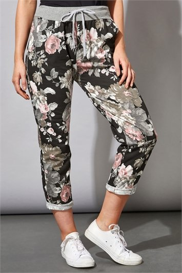 Floral Print Roll Hem Lounge Pants