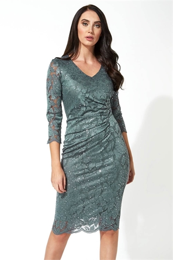 Lace Sequin Ruched Dress