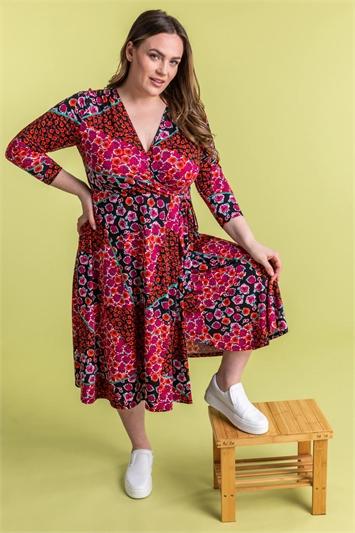 Curve Patchwork Floral Print Wrap Dress