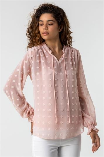 Light Pink Textured Spot Blouse with Cami Top