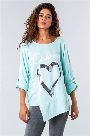 Sequin Heart Asymmetric Lounge Top