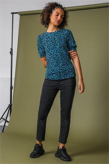 Blue Floral Print Puff Sleeve Jersey Top, Image 1 of 5