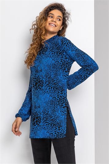 ROYAL BLUE Animal Print High Neck Tunic Top