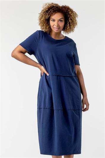 Curve Tiered Pocket T-Shirt Dress
