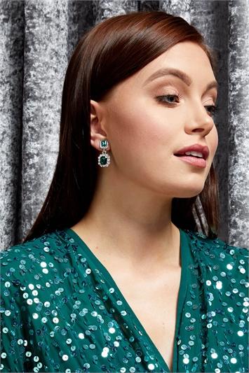 Green Clip On Gem Drop Earrings, Image 1 of 4