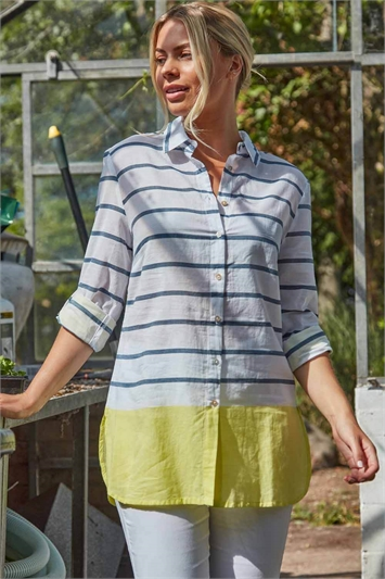 Stripe Colour Block Roll Sleeve Shirt