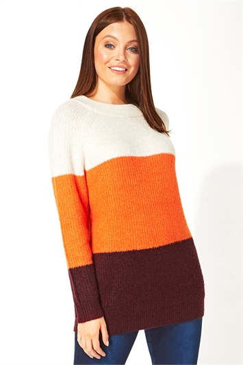 Ribbed Colour Block Tunic Jumper