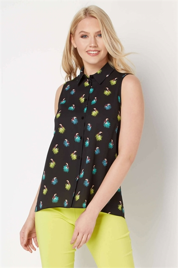 Tropical Bird Print Blouse