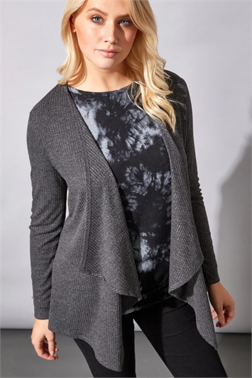 Ribbed Waterfall Front Cardigan