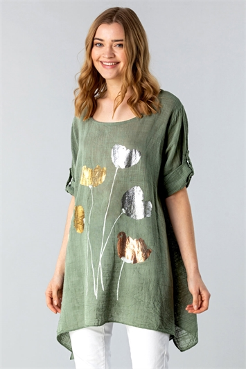 Longline Foil Print Tunic Top