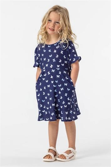 Navy Girls Butterfly Print Fluted Hem Dress