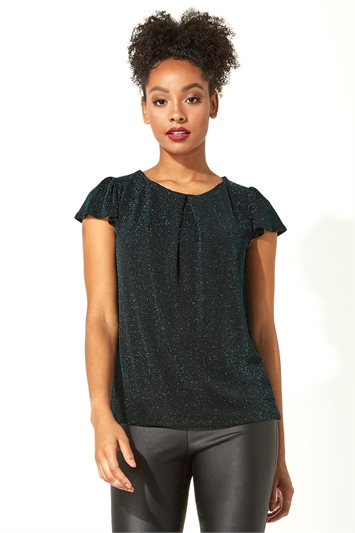 Shimmer Pleat Neck Top