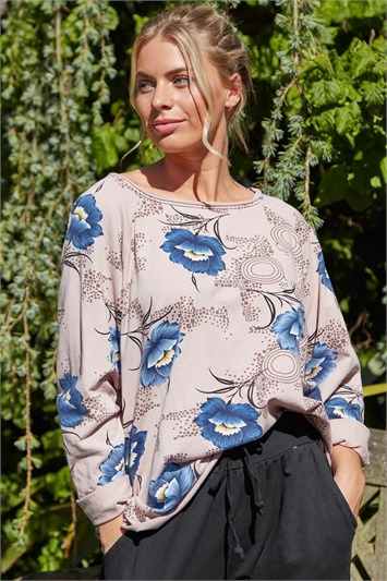 Floral Print Long Sleeve Lounge Top