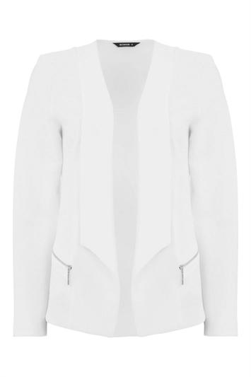 Ivory Textured Zip Detail Jacket