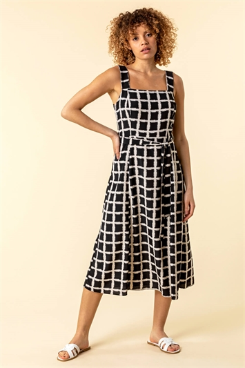 Belted Check Print Midi Dress