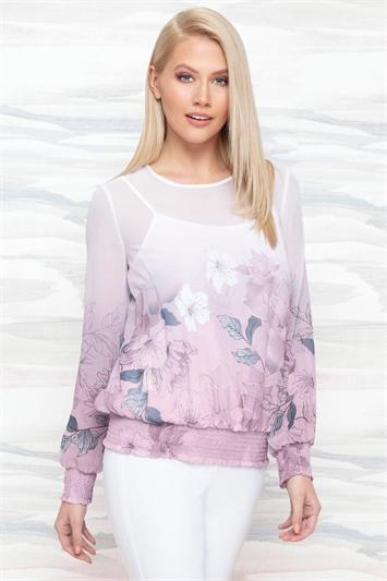 Floral Print Border Shirred Hem Top