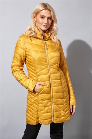 Padded Quilt Longline Coat