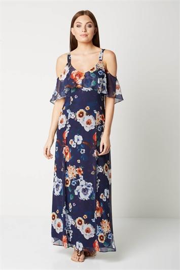 Floral Cold Shoulder Chiffon Maxi Dress
