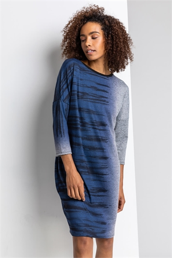Navy Ombre Animal Print Slouch Dress, Image 1 of 4