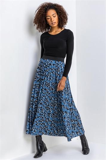 Blue Animal Print Pleated Maxi Skirt