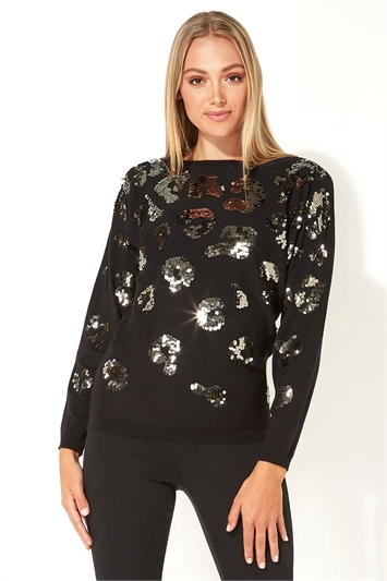 Sequin Animal Print Batwing Jumper