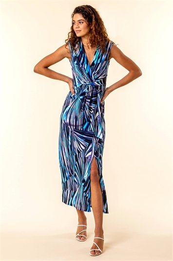 Twist Front Abstract Print Maxi Dress