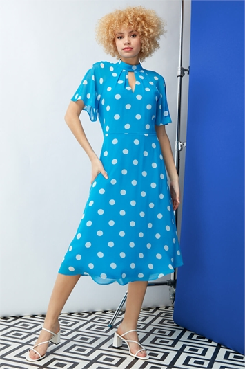 Blue High Neck Spot Midi Dress, Image 1 of 4