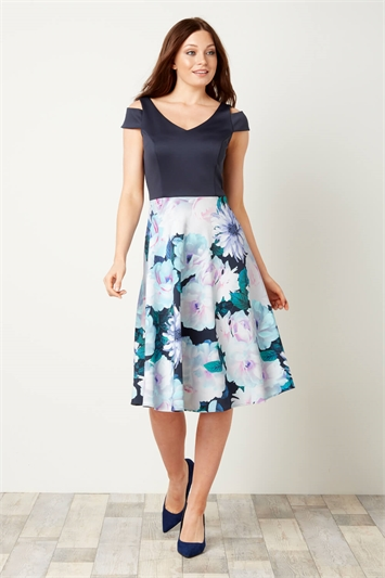Floral Print Fit and Flare Scuba Dress