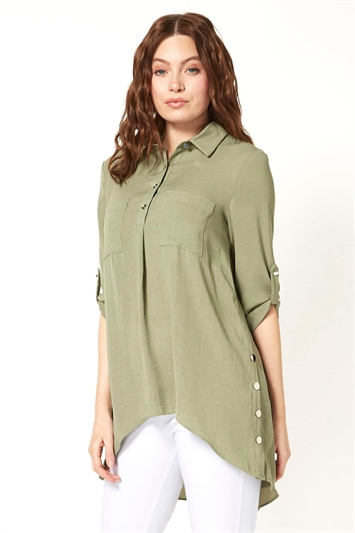 Button and Pocket Detail Shirt