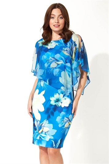 Floral Overlay Chiffon Dress