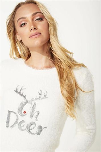 Oh Deer Embellished Christmas Jumper