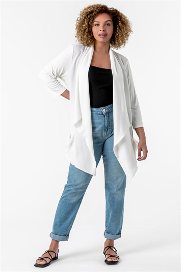 Curve Woven Front Jersey Cardigan