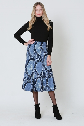 Julianna Snake Print Midi Skirt