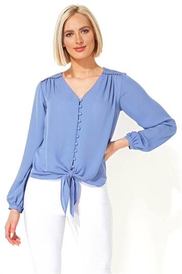 Lace Trim Tie Front Blouse