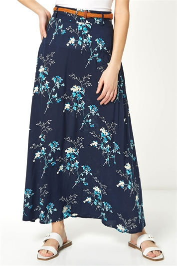 Floral Belted Maxi Skirt