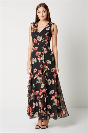V-Neck Frill Poppy Maxi Dress