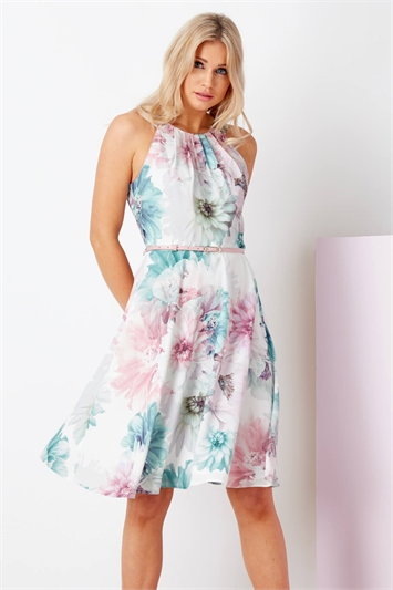 Floral Fit and Flare Belted Dress