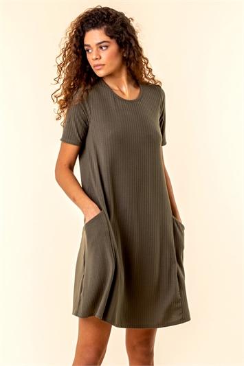 Ribbed Pocket Swing Dress